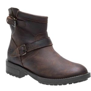 Harley Davidson Brown Leather Buckle Winter Boots